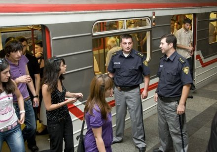 Police at a Tbilisi Metro Station