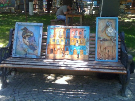 Tbilisi Outdoor Art Market - Paintings on Bench