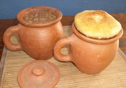 Lobio in Clay Pots Covered With Mchadi