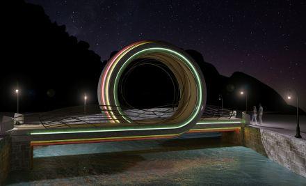 Foot Bridge over the River Borjomula at Night
