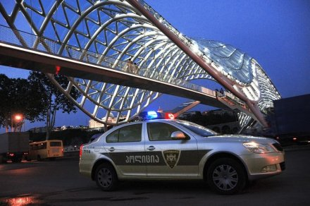 Police Car near the Bridge of Peace in Tbilisi