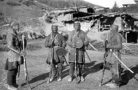 Khevsur Warriors with Flintlock Rifles