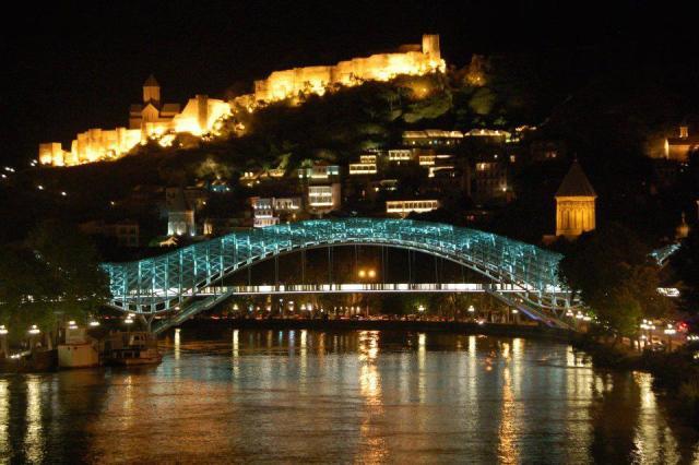 The Bridge of Peace and Narikala Castle in Tbilisi