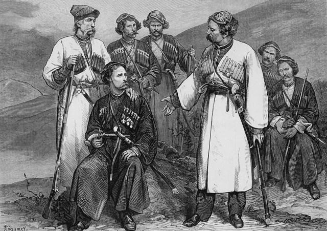 A page from the Illustrated London News 1873 showing Immeretians wearing traditional chokha