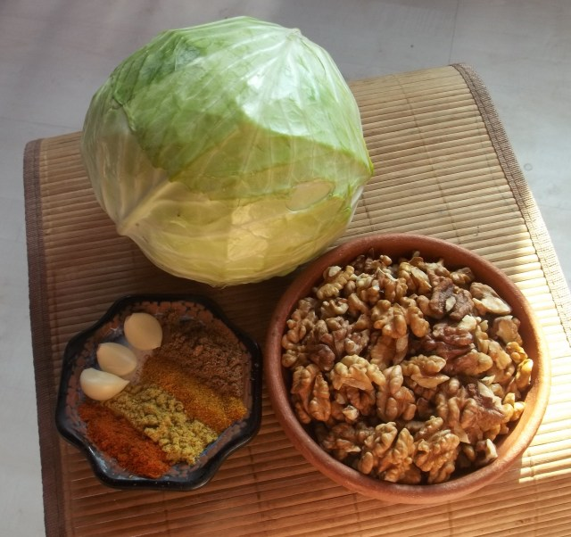 Ingredients for Walnuts Wrapped in Cabbage Leaves Recipe
