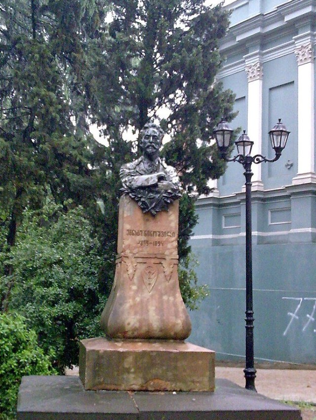 Statue commemorating Egnate Ninoshvili in Rustaveli Avenue in Tbilisi