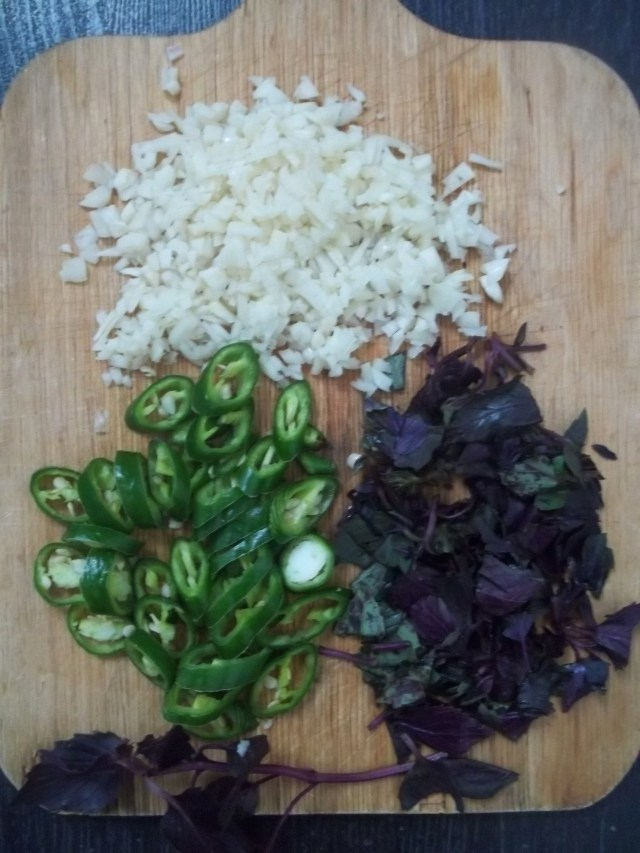 Chopped Ingredients for Mushroom Chashushuli