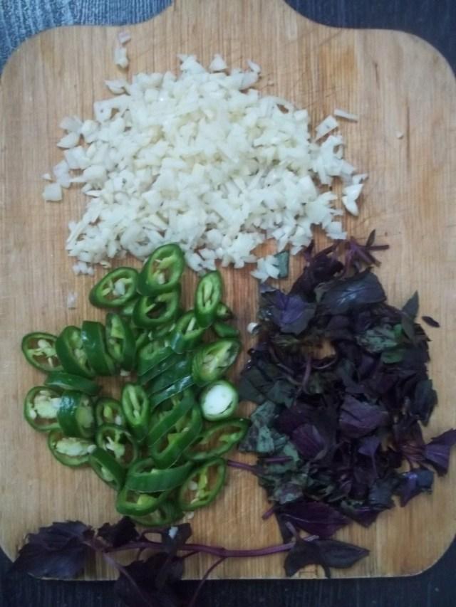 Chopped Ingredients for Mushroom Chashushuli