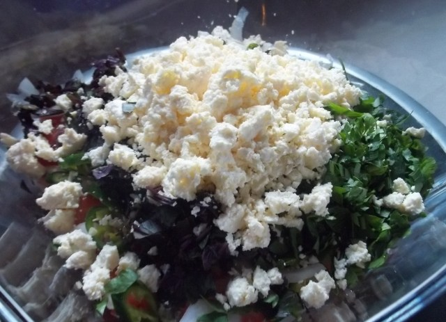 Imeretian Cheese in Georgian Salad - Copy