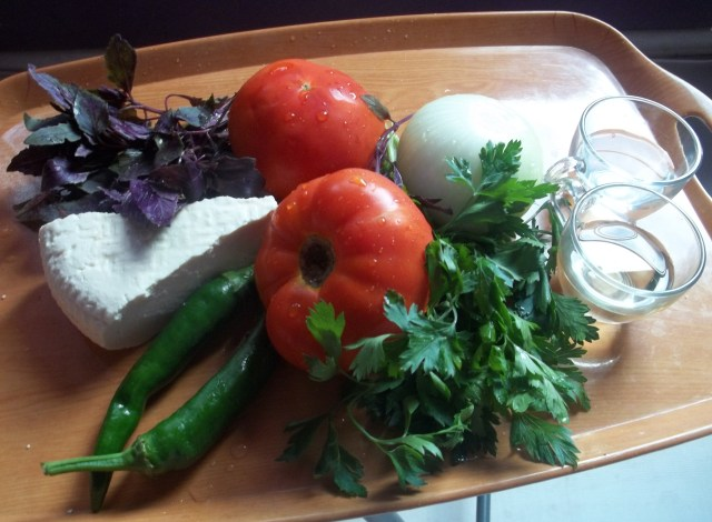 Ingredients for Georgian Salad
