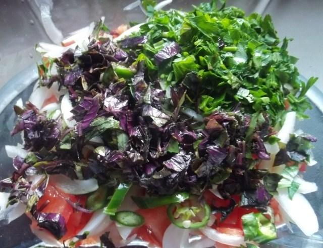 Parsley and Purple Basil