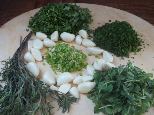 Chopped herbs for Tkemali Sauce