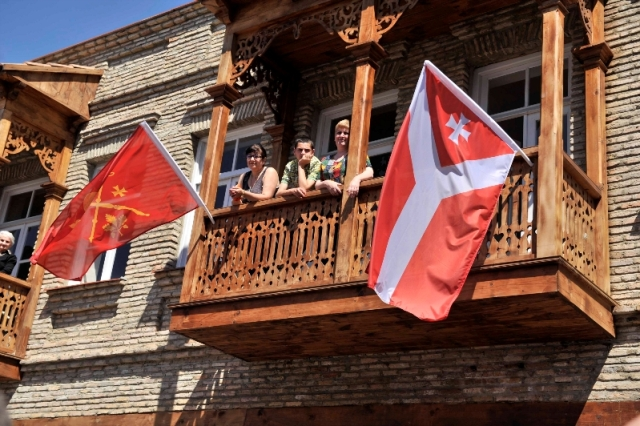 Flags on a Balcony at the Kartli Wine Festival