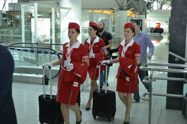 Fly Georgia Cabin Crew at Tbilisi International Airport