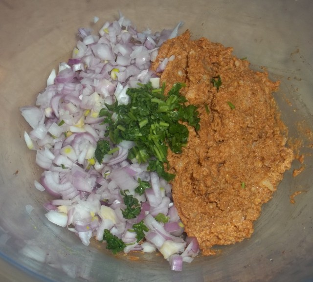 Mixing Ingredients for Ekala Dish