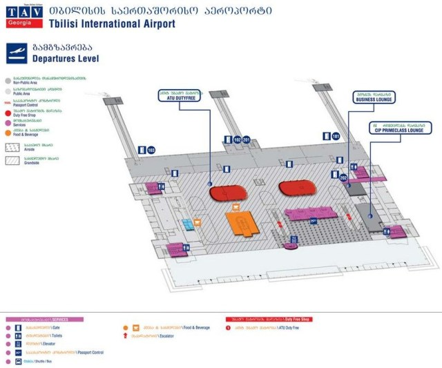 Tbilisi Airport Departure Level Map
