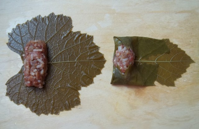 Folding the Vine Leaves for Tolma Recipe - Copy