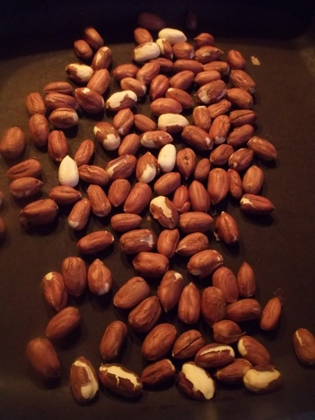 Heating Hazlenuts for Georgian Chicken with Nuts Recipe