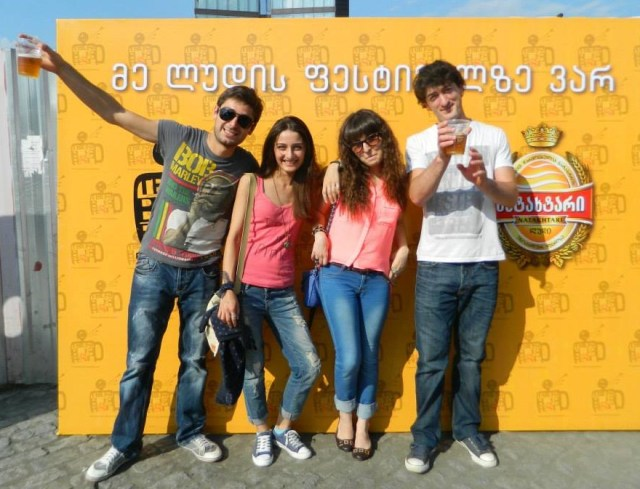 Revellers enjoying the 2013 Tbilisi Beer Festival