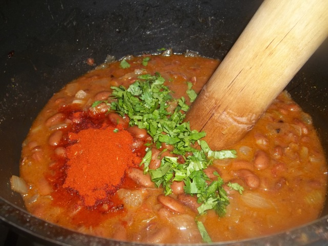 Stirring Ingredients for Lobio with Tomatoes Recipe