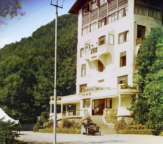 Color Photograph of a Hotel in Gagra by Sergey Mikhaylovich Prokudin-Gorsky