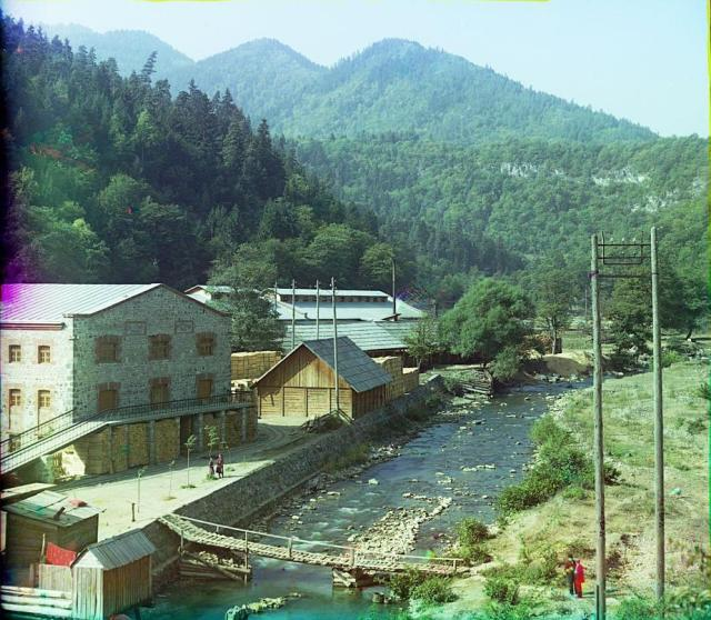 Color Photograph of an Electric Turbine Station at Gagra by Sergey Mikhaylovich Prokudin-Gorsky