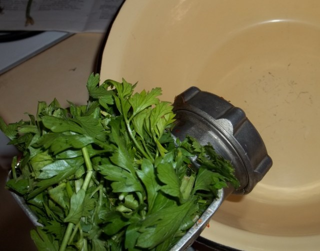 Crushing Herbs for Megrelian Ajika Recipe