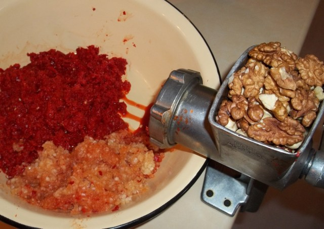 Crushing Walnuts for Ajika with Walnuts Recipe