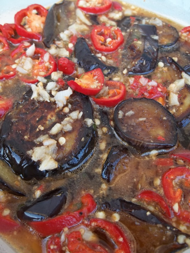 Eggplant with Garlic Hot peppers and Ajika Ready for Serving