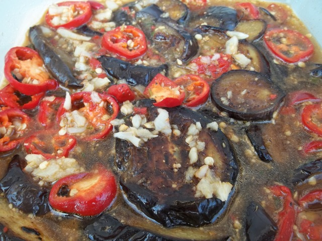 Eggplant with Garlic Hot Peppers and Ajika