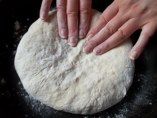 Flattening the Filled Dough for Chakhragina Khachapuri