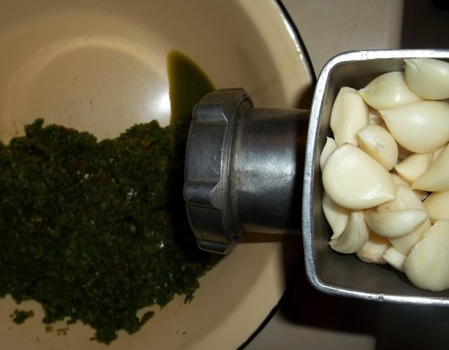 Grinding Garlic for Green Ajika Recipe