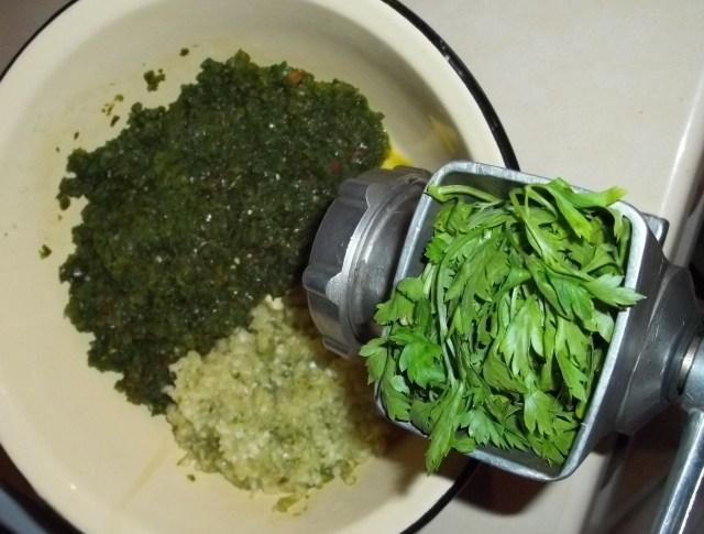 Grinding Ingredients for Green Ajika Recipe