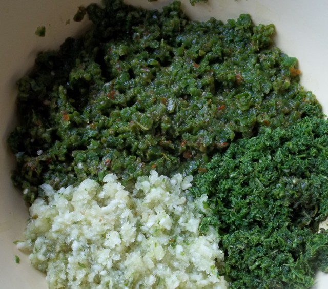Ground Ingredients for Green Ajika Recipe