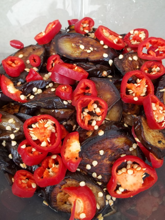 Hot Red Peppers and Fried Eggplant