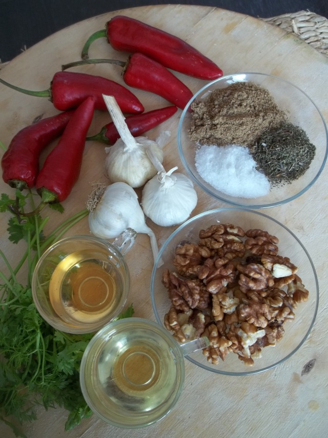 Ingredients for Ajika with Walnuts