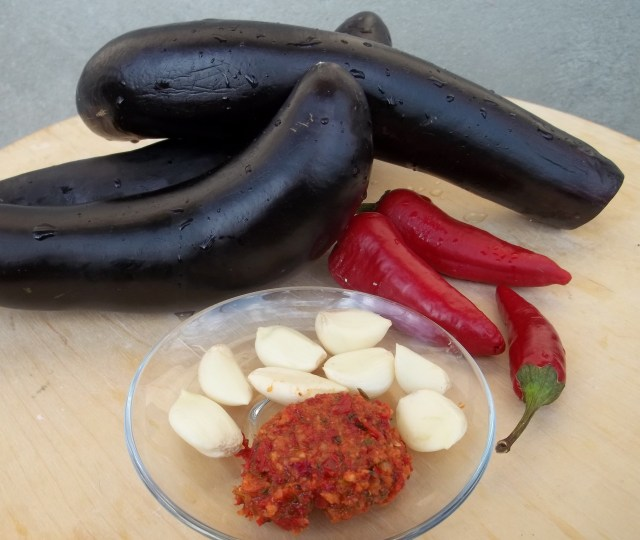 Ingredients for Eggplant with Garlic Hot peppers and Ajika
