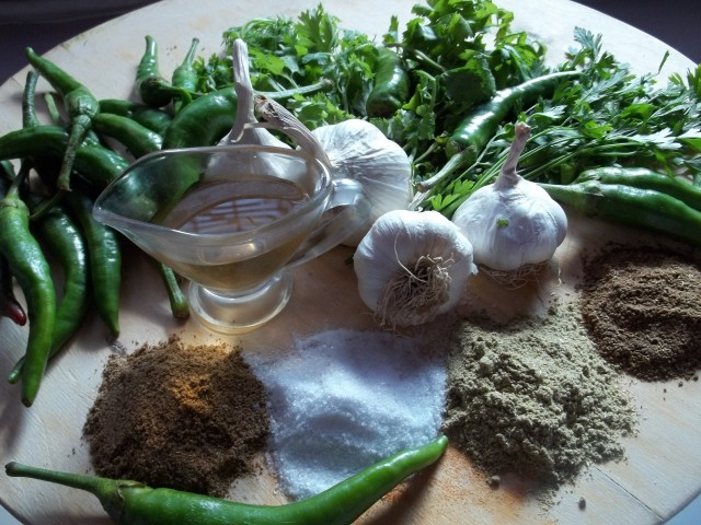 Ingredients for Green Ajika