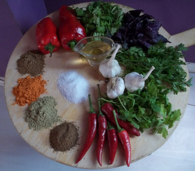Ingredients for Megrelian Ajika