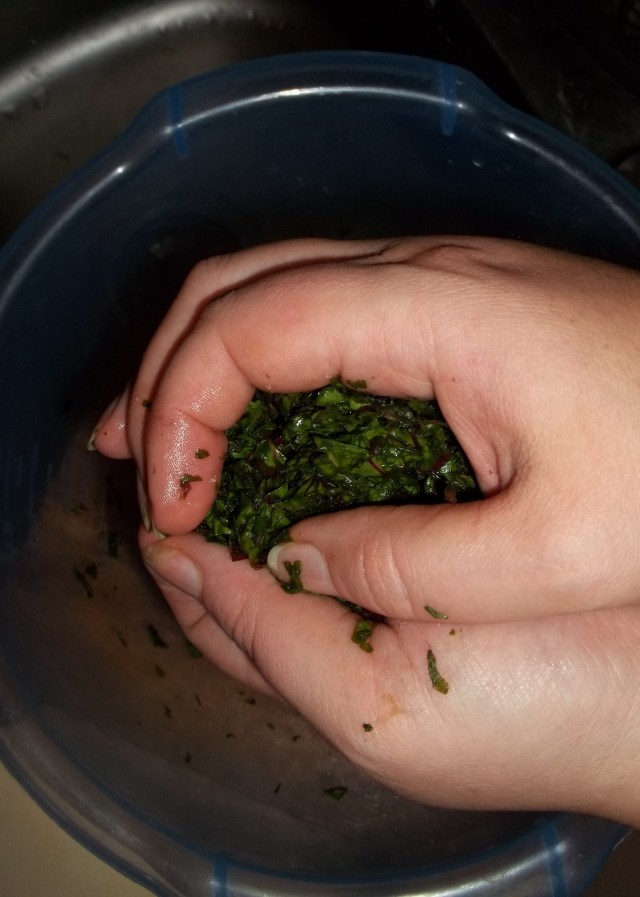 Squeezing Beetroot Leaves for Chakhragina Khachapuri