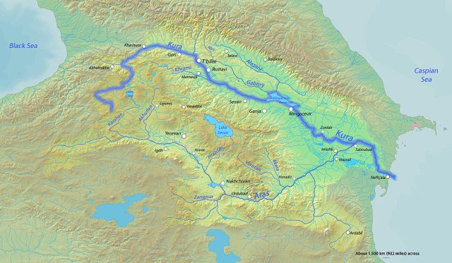 Map showing the Mtkvari River. Courtesy of Wikimedia Commons.