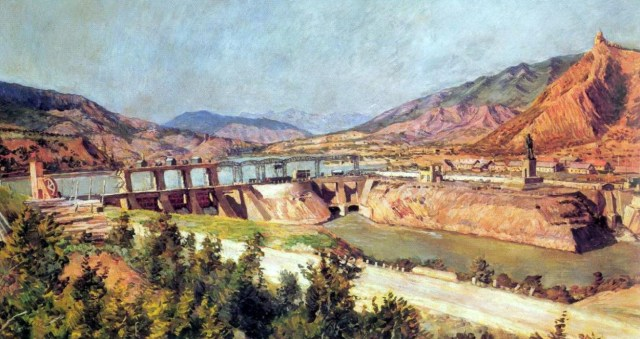 Dam on the Kura River and Highway of Georgian Military Road. 1927 painting by Ilya Mashkov
