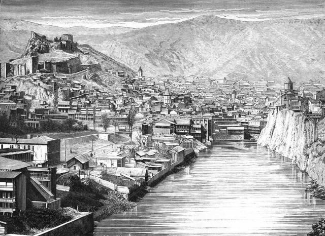 Engraving of the Mtkvari River at Tiflis (former name of Tbilisi) dated 1875