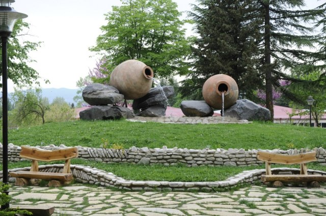Landscaped grounds of the Winery Khareba Tourist Complex at Kvareli Gvirabi. Photo courtesy of Winery Khareba.