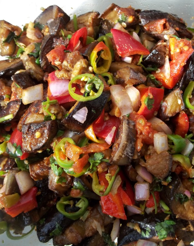 Marinated Eggplant with Peppers Ready for Serving