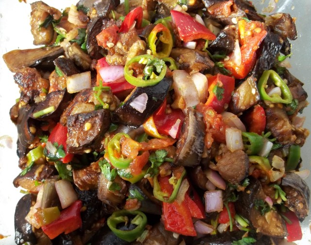 Marinated Eggplant with Peppers