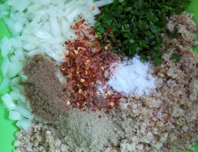 Prepared Ingredients for Mushrooms with Nuts and Spices Recipe