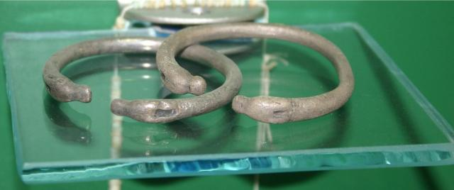 5th century B.C. silver bracelets found at the Greek/Colchian settlement of Pichvnari. Photo by Jonathan Cardy, via Wikimedia Commons.