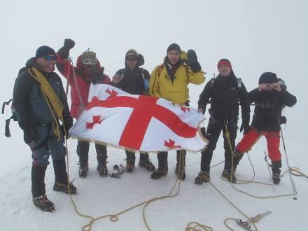 The President of Georgia reaches the summit of  Mount Kazbegi. Photo courtesy of the President's Administration.