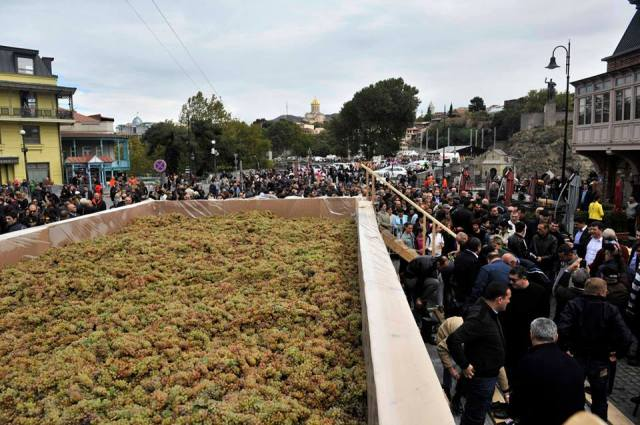 The winepress holding 7 tons of grapes at Tbilisioba - 2013. Photo courtesy of Tbilisi Mayor's Administration.